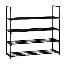 "Homebi 4-Tier Shoe Rack Metal Shoe Tower 20-Pair Shoe Storage Organizer Unit Entryway Shelf Stackable Cabinet with 4 Tiers Durable Metal Shelves,35.6""W x 12.0"" D x 33.27""H"