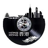 studioRUTART Hong Kong - Wall Clock Made of Vinyl Record - Handmade - Unique Design - Incredible Gift Idea for Christmas Birthday Anniversary Women Men Boyfriend Girlfriend Teens Friends