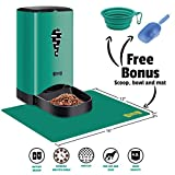 Automatic Pet Feeder Food Dispenser for Dogs and Cats | BONUS Collapsible Bowl + Food Scoop + Silicone Feeding Mat | Smart Programmable Timed Feeder with Auto Portion Control and Voice Record