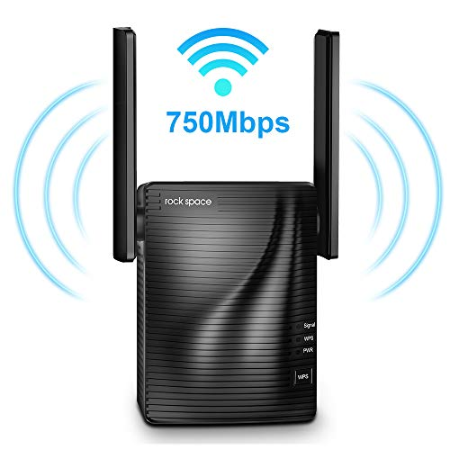 WiFi Range Extender - 750Mbps WiFi Repeater Wireless Signal Booster, 2.4 & 5GHz Dual Band WiFi Extender with Gigabit Ethernet Port, 360 Degree Full Coverage WiFi Range Extender Repeater, Simple Setup