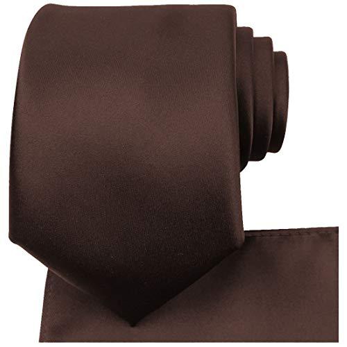 KissTies Truffle Brown Necktie Set Solid Satin Tie + Pocket Square + Gift Box