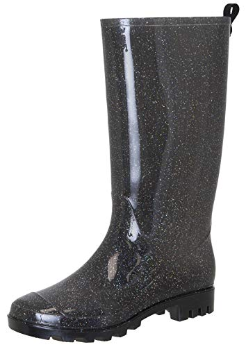 Capelli New York Ladies Tall All Over Glitter Rain Boots with Back Pull Loop Black Combo 7