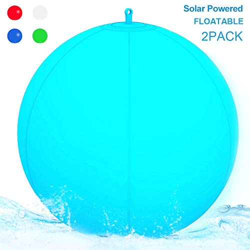 """Floating Pool Lights Inflatable Waterproof IP68 Solar Glow Globe,13"""" Outdoor Pool Ball Lamp 4 Color Changing LED Night Light, Party Decor for Swimming Pool,Wedding,Beach,Yard,Lawn,Pathway - 2 PACK"""