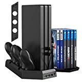 Kootek Vertical Stand for PS4 Slim/Pro/Regular Playstation 4, Controller Charging Station with Cooling Fan Game Storage and Dual Charger Indicator USB Ports for DualShock 4 Wireless Controllers