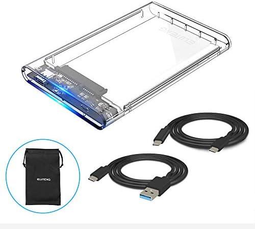 ELUTENG Festplattengehäuse USB 3.0 für 9.5mm-7mm UASP 2.5 Zoll Gehäuse USB 3.0 USB C 3.1 Gen 1 SATA Gehäuse mit USB C auf USB A/C Kabel,werkzeugfreie Montage [Transparent] MEHRWEG