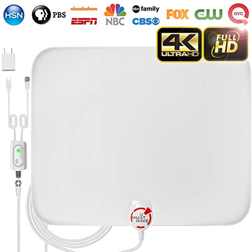 [Latest 2019] Amplified HD Digital TV Antenna Long 65-85 Miles Range – Support 4K 1080p and All Older TV's Indoor Powerful HDTV Amplifier Signal Booster - 18ft Coax Cable/AC Adapter