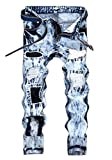 Amoystyle Men's Snow Washed Ripped Jeans Blue 167 Asian 40