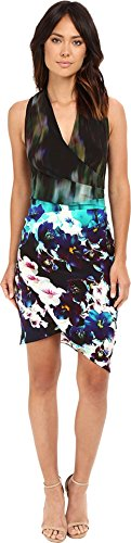 41yFyIRrJjL Sleeveless dress featuring surplice bodice with pleating and asymmetric tulip skirt Invisible back zipper with hook-and-eye closure Fully lined