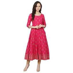 Poshak Women's Cotton & Crepe Anarkali Kurta