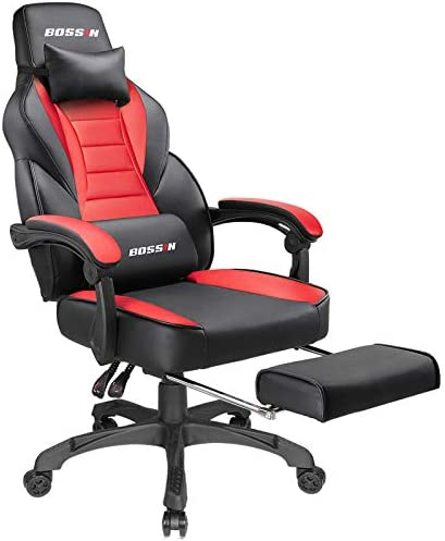 Gaming Chair Racing Style Office Ergonomic Chair High-Back PU Leather Design PC Computer Gaming Chair Adjustable Height Swivel Chair with Footrest, Headrest and Lumbar Support (Red)