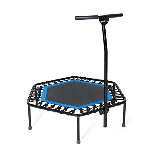 SportPlus Fitness Trampoline with Bar / OR Replacement Bungees – Indoor Rebounder Trampoline for Adults – Ideal for Cardio Workout, Training at Home, Bungee Rope System Trainer, Silent – Max 286