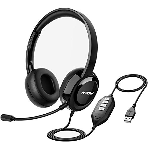 Mpow 331 USB Computer Headphones, Environmental Noise Cancellation Computer Headset with Microphone, 3.5mm Wired Business Headphone for PC/Phone/Skype/Webinar/Call Center