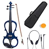 Cecilio 4/4 CEVN-1BL Solid Wood Electric/Silent Violin with Ebony Fittings in Style 1 - Full Size - Blue Metallic