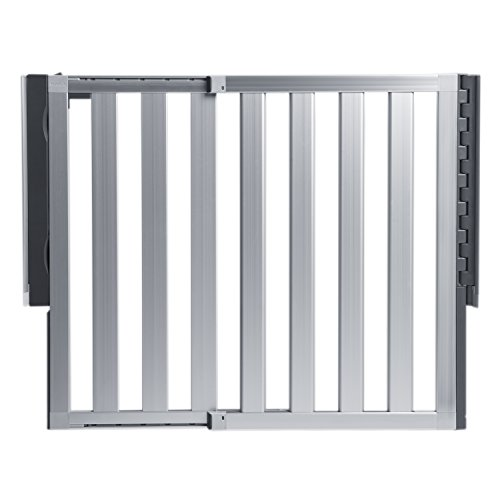 """Munchkin Loft Aluminum Hardware Mount Baby Gate for Stairs, Hallways and Doors, Extends 26.5""""- 40"""" Wide, Silver, Model MK0012"""