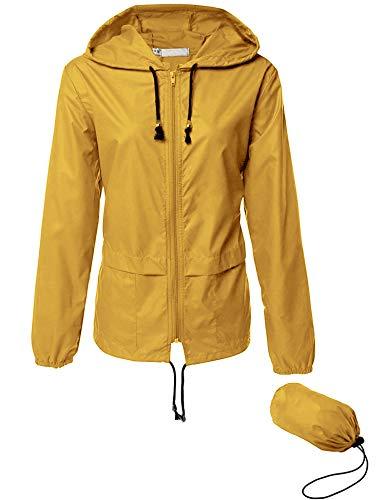 Womens Lightweight Windbreakers Outdoor Hooded Sports Outwear Quick Dry Jacket Yellow XXL
