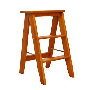 Construction supplies Three-step Ladder Stool, Coffee Shop/flower Shop/cake Shop Dual-purpose Stool Folding Wooden Stepladders/size: 34 * 45 * 62 Cm save space (Color : Brown, Size : 34 * 45 * 62CM) 41yVxxlwlCL