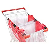 Handy Sandy 3 pcs Reusable Grab Grocery Shopping Tote, Shopping Cart Bags, and Grocery Organizer (Red/White)