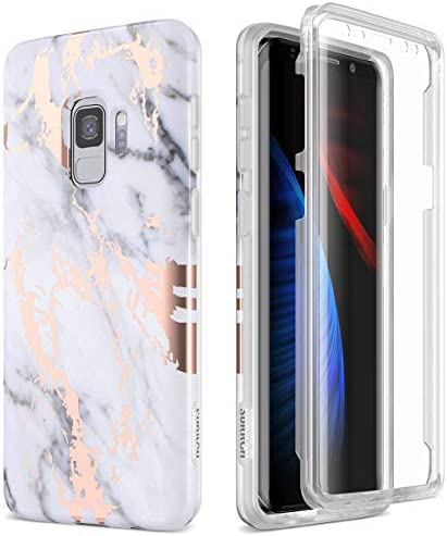 SURITCH Case for Galaxy S9, [Built-in Screen Protector] Full-Body Protection Shockproof Rugged Bumper Protective Cover for Samsung Galaxy S9 5.8 Inch (Gold Marble)