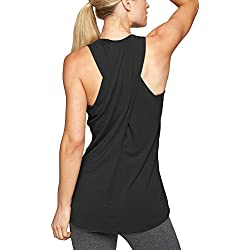 Mippo Women's Summer Workout Tops Sexy Cross Back Yoga Shirts Long Flowy Active Workout Clothes Loose Fit Muscle Tee Tanks Sports Gym Active Pilates Tank Top Black M