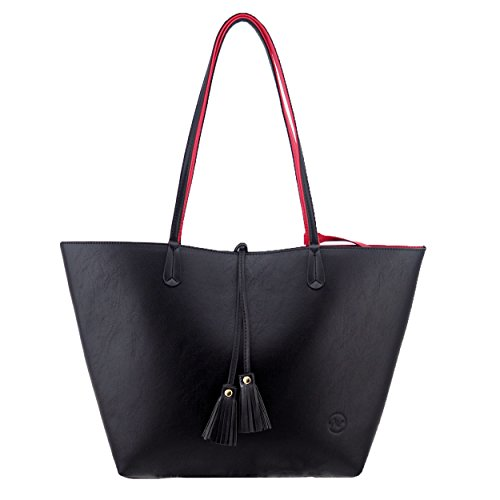 9327d5ab6e22b Minch K05 Pu Leather Designer tote purses and Handbags Bags for Women Work  on clearance (Black)