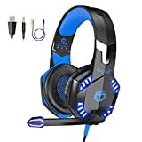 VersionTECH. G2000 [Updated] Stereo Gaming Headset for Xbox One PS4 PC,Surround Sound Over-Ear Headphones with 50mm Drive Unit,Noise Cancelling Mic, LED Lights for Laptop, Mac,Nintendo Switch Game