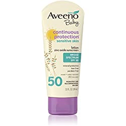 Aveeno Baby Continuous Protection Zinc Oxide Mineral Sunscreen Lotion for Sensitive Skin with Broad Spectrum SPF 50, Tear-Free, Sweat- & Water-Resistant, Travel-Size, 3 fl. oz