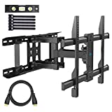 PERLESMITH TV Wall Mount Swivels, Tilts, Extends - Full Motion TV Mount with Articulating 16' Arm Fits 16', 18', 24' Wood Studs - VESA 400x400mm for 37-55 Inch LED LCD Flat Screen Plasma TVs