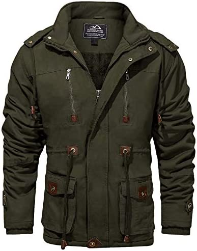MAGCOMSEN Men's Winter Cargo Work Jacket Fleece Lined Thicken Military Jacket with Removable Hood
