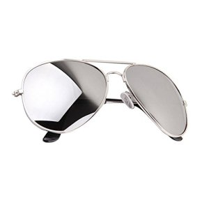 b95058ffa9eb ... Aviator Sunglasses Full Mirror Lenses Silver Metal Frame UV400  Protection ...
