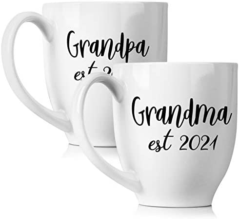 New Grandparents Pregnancy Announcement Coffee Mug Set 15oz – Unique Expecting Gift Idea For Grandma and Grandpa To Be – Perfect Reveal Present Baby Showers – Grandmother and Grandfather Gifts…