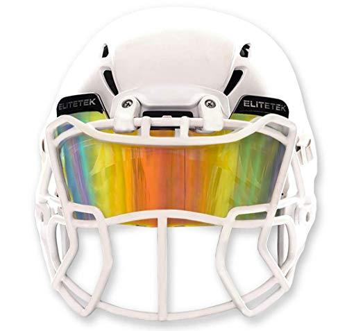 EliteTek Color Football & Lacrosse Eye-Shield Facemask Visor - Fits Youth & Adult Helmets (Clear Orange Colored)