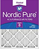 Nordic Pure 14x25x1M8-6 MERV 8 Pleated AC Furnace Air Filter, 14x25x1, Box of 6