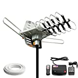 Dual Band UHF VHF Power Amplified Rotating 360° 36dB Hd Hdtv Digital Indoor Outdoor Tv Antenna with IR Remote Control Rotating System