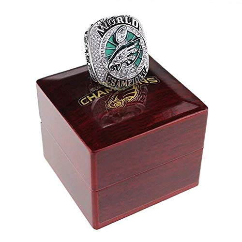 AMOH JERCY 2017-2018 Philadelphia Eagles Football Super Bowl LII World Foles and Wentz Championship Replica Ring with Wooden Box (10, Wentz)