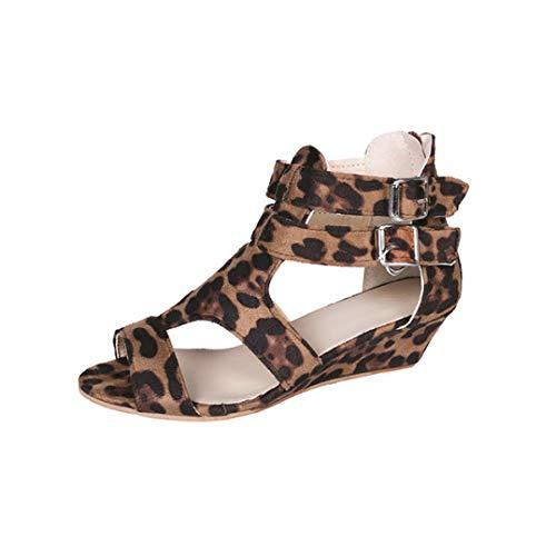 Women Female Casual Peep Toe Wedge Heels Slides Ankle Strap Buckle Sandals Woman Leopard Print Shoes