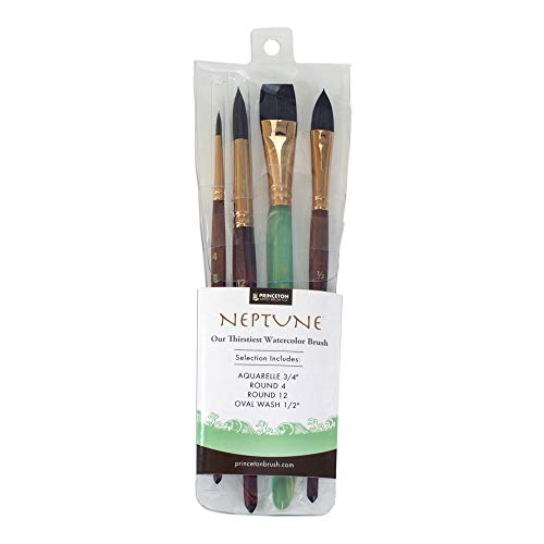Princeton Artist Brush, Neptune Synthetic Squirrel, 4750 4-Piece Set 300
