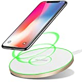10W Wireless Charger Upgraded, Ultra Thin Round Alloy Fast Charging Pad Mat Station for iPhone Xs, XR, Xs Max, X, 10, 8, 8 Plus, Samsung Galaxy S8, S8+, Note 8, 9 All Qi-Enabled Phones by YAPISHI
