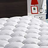 LEISURE TOWN King Mattress Pad Cover Cooling Mattress Topper Cotton Top Pillow Top with Snow Down Alternative Fill (8-21' Fitted Deep Pocket)