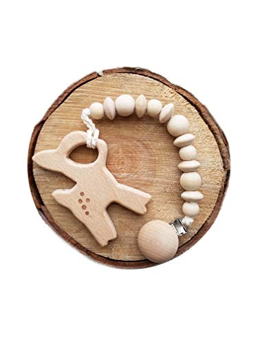 Natural Wooden Teething Toy Interchangeable Pacifier Holder Strap, Dummy Clip, Neutral baby shower gift (wooden3d deer)