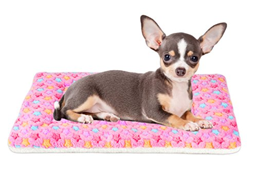 Mora Pets Ultra Soft Pet (Dog/Cat) Bed Mat with Cute Prints | Reversible Fleece Dog Crate Kennel Pad | Machine Washable Pet Bed Liner (22-Inch, Pink)