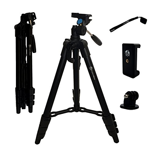 Lightweight Travel Tripod 3-in-1 for Camera, iPhone, Android, GoPro & DSLR w/ Bluetooth Remote, Phone Mount & Carrying Bag | iPhone X, 8, 7, & 6 Plus, Samsung Galaxy S8+ | Photo, Video