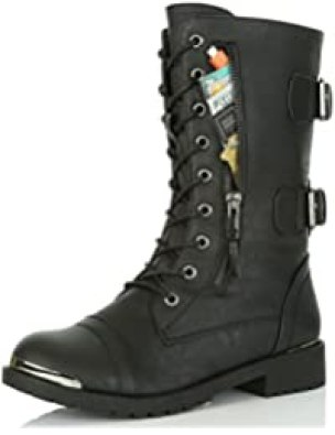 DailyShoes Women's Military Ankle Lace Up Buckle Combat Boots