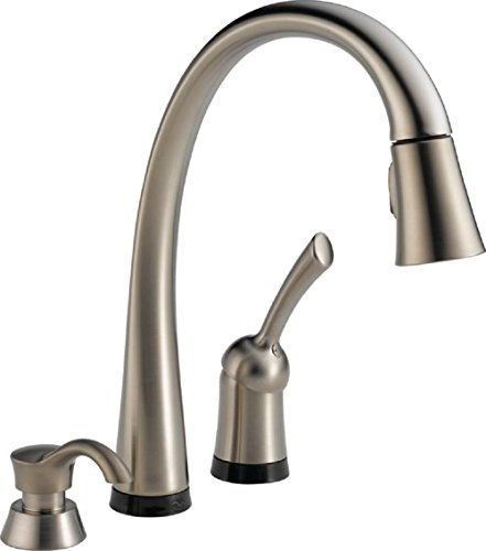 Delta Faucet Pilar Single-Handle Touch Kitchen Sink Faucet with Pull Down Sprayer, Soap Dispenser, Touch2O Technology and Magnetic Docking Spray Head, Stainless 980T-SSSD-DST