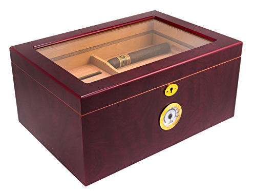 Mantello 100 Cigar Desktop Humidor Glasstop