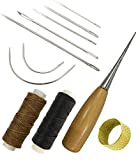 7 Pieces Curved Upholstery Hand Sewing Needles Sewing Needles with Leather Waxed Thread Cord 1 Brown 1 Black and Drilling Awl and Thimble for Leather Repair