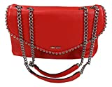 Nine West Dayne Faux Leather Shoulder Bag Purse (Fiery Red/Silver)