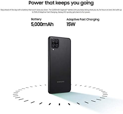 "Samsung Galaxy A12 (64GB, 4GB) 6.5"" HD+, Quad Camera, 5000mAh Battery, Dual SIM GSM Unlocked Global 4G Volte (T-Mobile, AT&T, Metro) International Model A125M/DS (64GB SD Bundle, Black)"