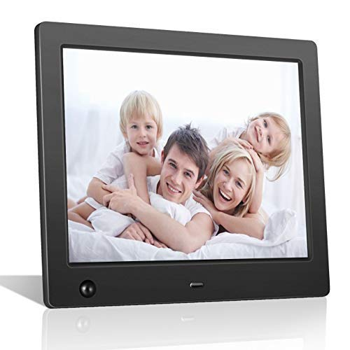 Digital Picture Frame 8 inch Electronic Photo Frame with Motion Sensor and High Resolution 1024x768 IPS LCD/1080P 720P Video Player/Stereo/MP3/Calendar/Time/Remote Control
