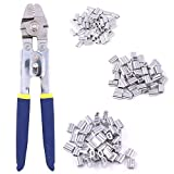 Glarks Up To 2.2mm Wire Rope Crimping Tool With 150Pcs 3 Size Aluminum Double Barrel Ferrule Crimping Loop Sleeve Kit