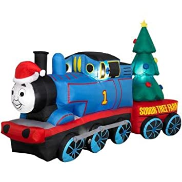 Com Gemmy Thomas The Tank Engine 8 Long Airn Christmas Holiday Inflatable With Sodor Tree Farm Train Car Home Kitchen